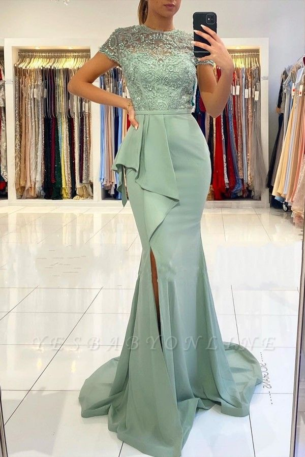 High Neck Short Sleeve Full Back Sash  Side Slit Applique Sheath Prom Dresses