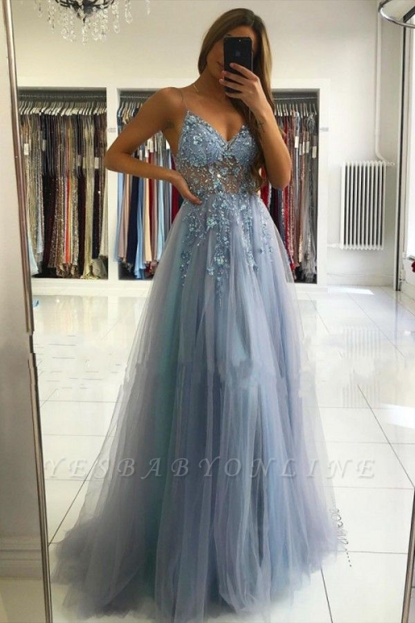 Spaghetti Strap Sweetheart Backless Crystal Floral Front Slit Tulle A Line Prom Dresses