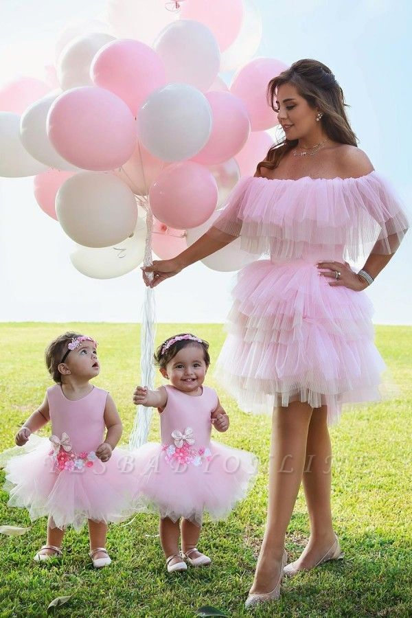 Sexy Pink Off The Shoulder Tiered Ball Gown Prom Dresses | Short Homecoming Dresses