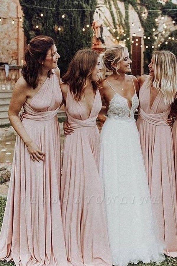 Elegant A-Line Chiffon Ruched V-Neck Long Bridesmaid Dress | Wedding Party Dress BM0232