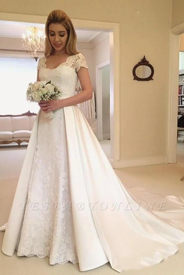 Sweetheart Short Sleeve A Line Wedding Dresses | Applique Backless Bridal Gown