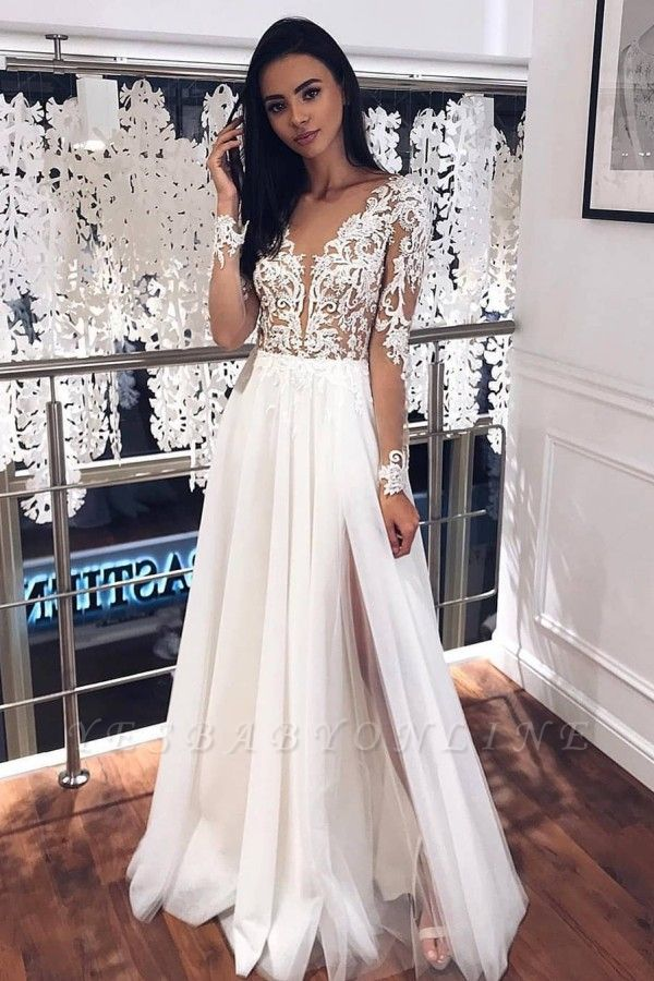 Jewel Long Sleeve Sheer Bodice Applique Lace Floor Length PleatedTulle A Line Wedding Dresses