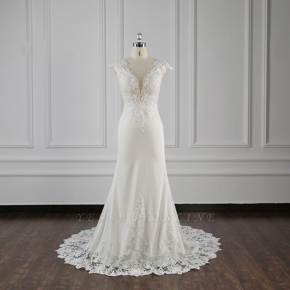 Elegant Ivory Chiffon V Neck Mermaid Wedding Dresses With Lace Appliques