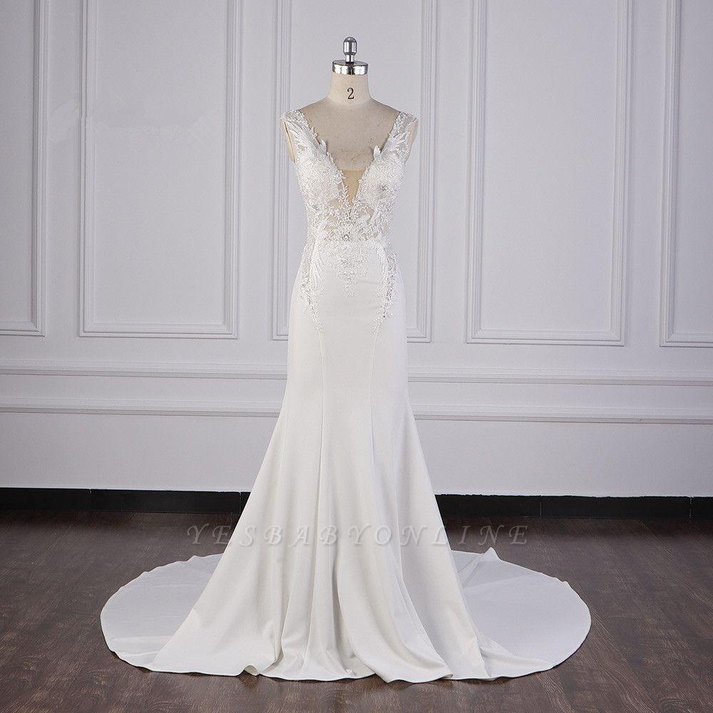 Elegant Sleeveless Ivory Satin Tulle Mermaid Wedding Dresses With Lace Appliques