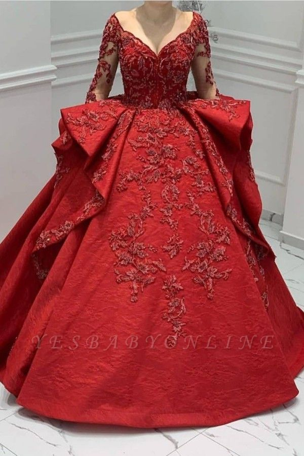 Stunning Red Jewel Long Sleeve Nude Sheer Back Embrodeiry Ruffles Ball Gown Prom Dresses