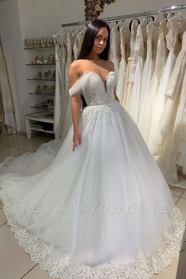 Sexy Off The Shoulder Sweetheart Tulle A  Line Wedding Dresses With Pleated