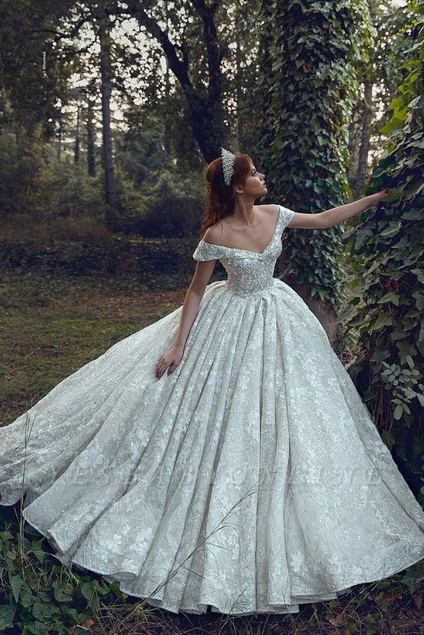 Princess Off The Shoulder Sweetheart Backless Lace Floral Ball Gown Wedding Dresses | Sequin Bridal Gown