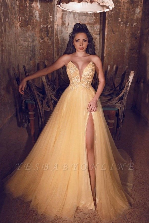 Charming Gold Seweetheart  Side Slit A  Line Prom Dresses | Applique Sequin Cheap Evening Dresses
