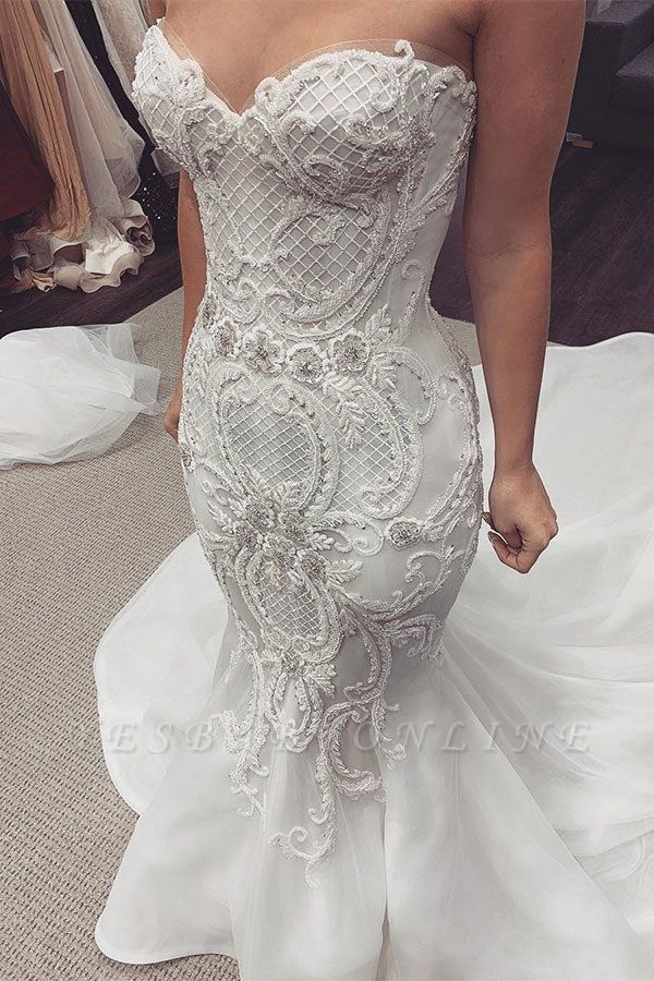 Sexy Sweetheart Backless  Lace Fit And Flare Mermaid Wedding Dresses