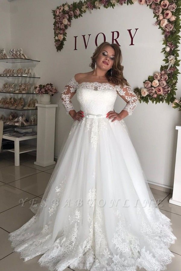 Long Sleeve Off The Shoulder A Line Pleated Tulle A Line Wedding Dresses