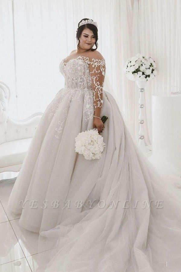Jewel Lace Appliques Ball Gown Wedding Dresses with Long Sleeves