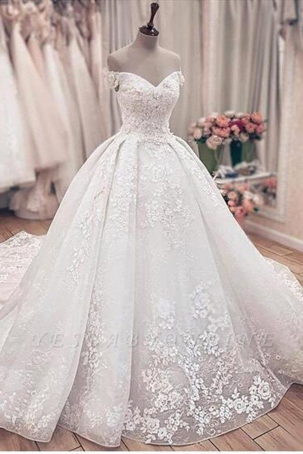 Off the Shoulder Lace Ball Gown Wedding Dresses with Lace-up Back