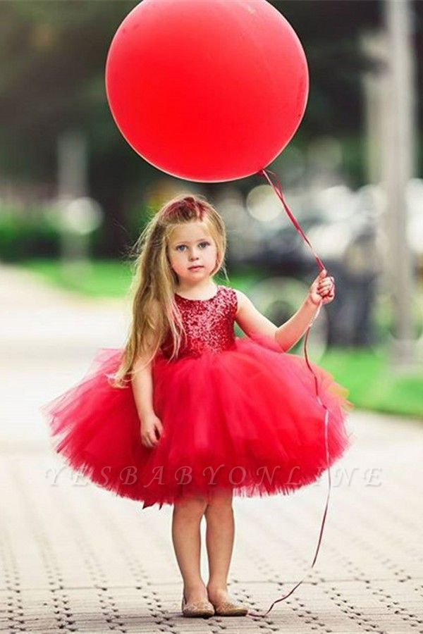 Princess Sequin Ball Gown Flower Girl Dresses | Knee Length Kids Party dresses