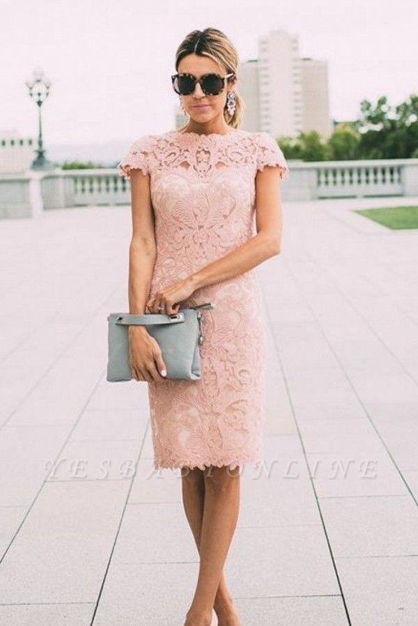 Sheath Blushing Pink Prom Dresses   Short Sleeves Lace Evening Gowns