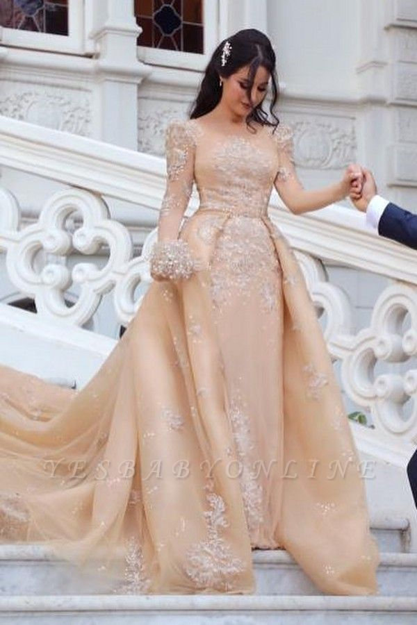 Gorgeous Long Sleeve Applique Detachable Skirt Sheath Wedding Dresses