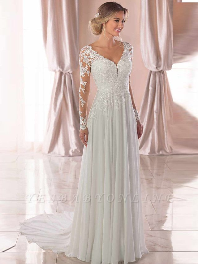 Romantic A-Line V Neck Chiffon Long Sleeve Wedding Dresses with Chapel Train
