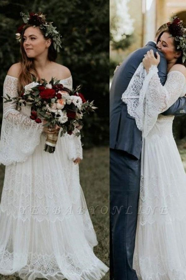 Off The Shoulder Lace A Line Beach Wedding Dresses   Bridal Gown With Long Sleeve