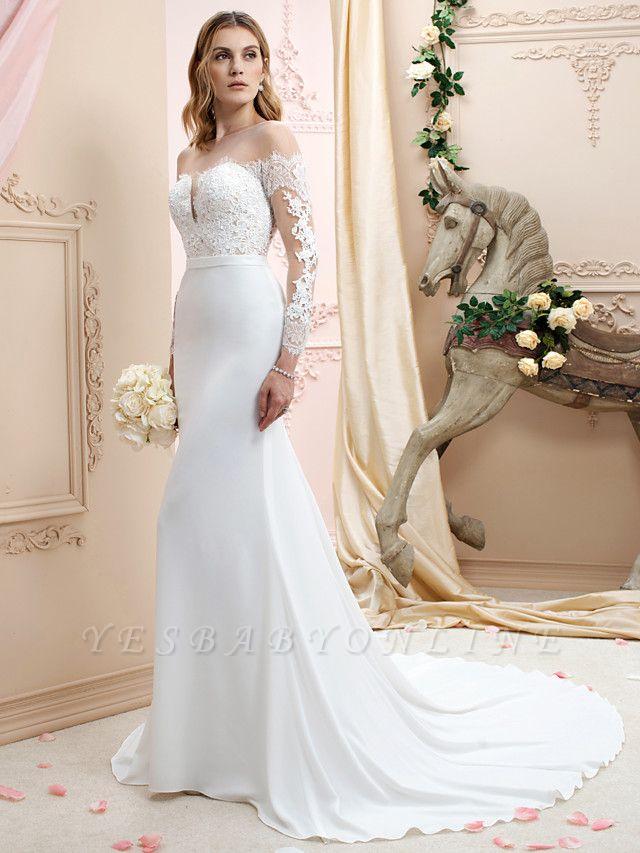 Elegant Jewel Mermaid Chiffon Lace Long Sleeves Wedding Dress with Train On Sale