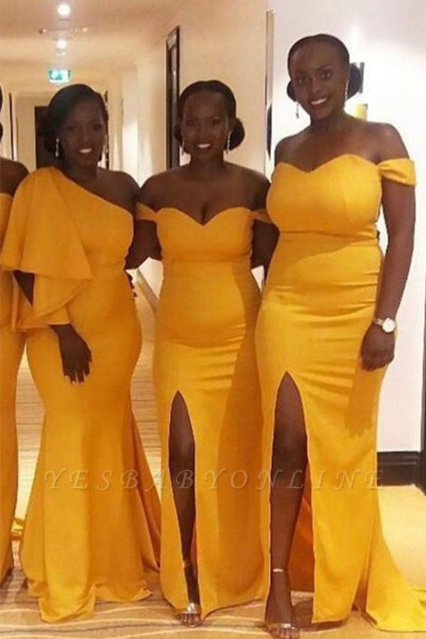 Yellow Off The Shoulder Sheath Bridesmaid Dresses | Bridesmaid Dresses With Slit