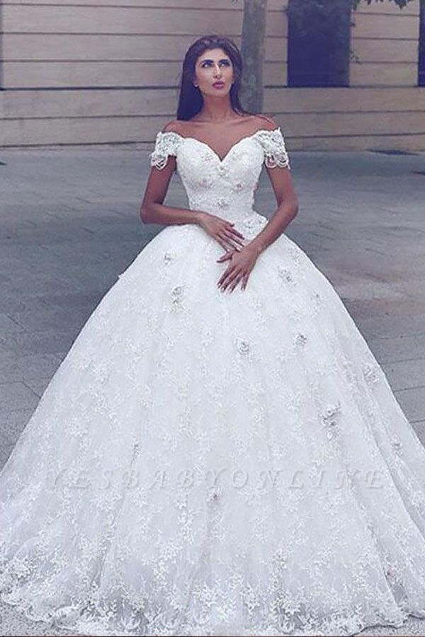 Luxury Off The Shoulder Lace Ball Gown Wedding Dresses | Sweetheart Bridal Gown