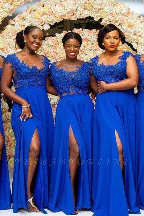 Royal Blue Straps A Line Bridesmaid Dresses | Applique Front Slit Prom Dresses