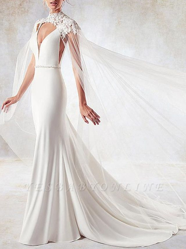 Sexy Mermaid V-Neck Sleeveless Backless Wedding Dress with Side Hollowout