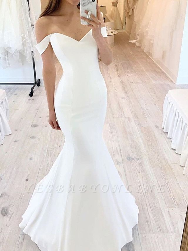 Chic Mermaid Off Shoulder Sweetheart Sleeveless Wedding Dress Online