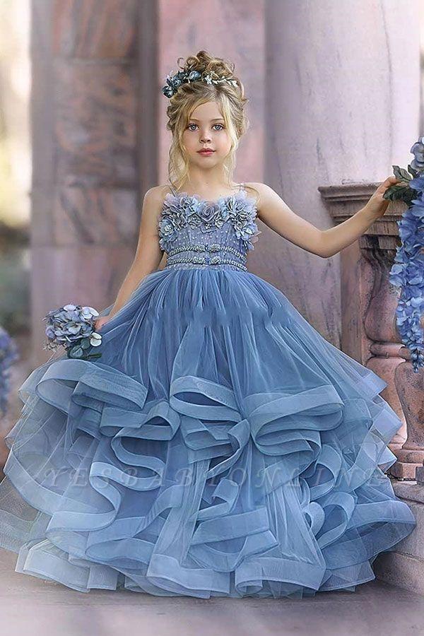 Cute Sequin Ball Gown Flower Girl Dresses   Little Tutu Girls Ruffles Party Dress For Wedding