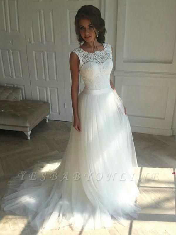 Jewel Backless Lace A Line Simple Wedding Dress | Backless Bridal Gown With Sash