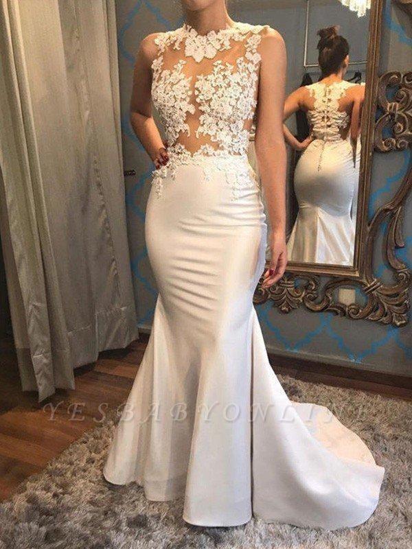 High Neck Applique Mermaid Wedding Dresses | Floor Length Bridal Gown
