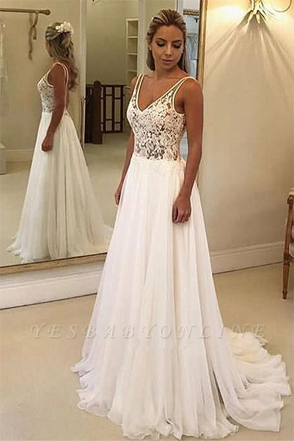 Straps V Neck A Line Lace Wedding Dress   Backless Wedding Gown
