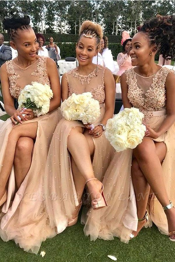 Champagne Jewel Applique Pearls A Line Bridesmaid Dresses For Wedding
