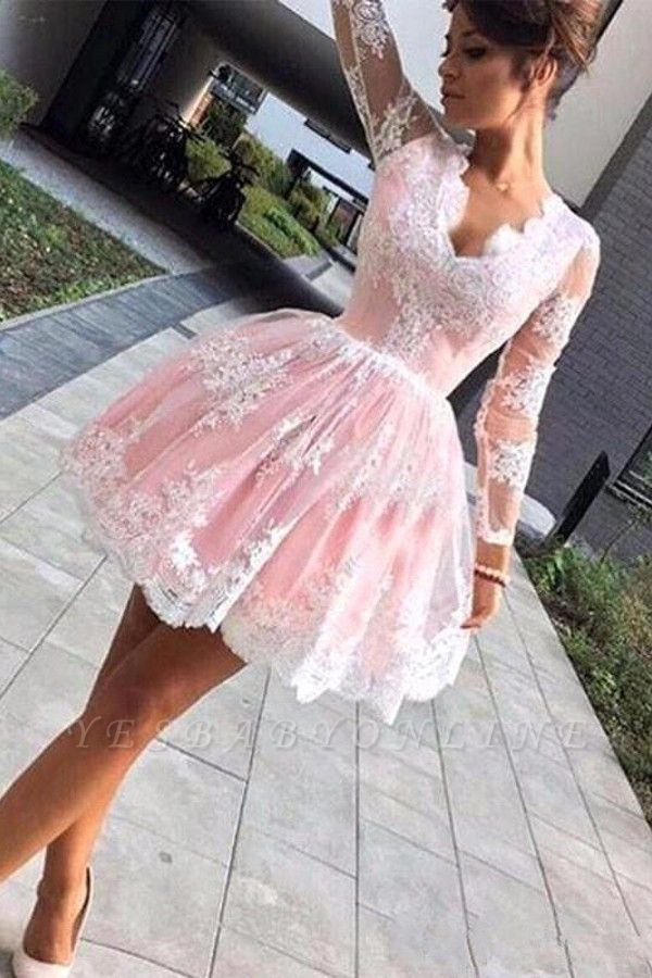 Pink Long Sleeve Lace Short A Line Homecoming Dresses
