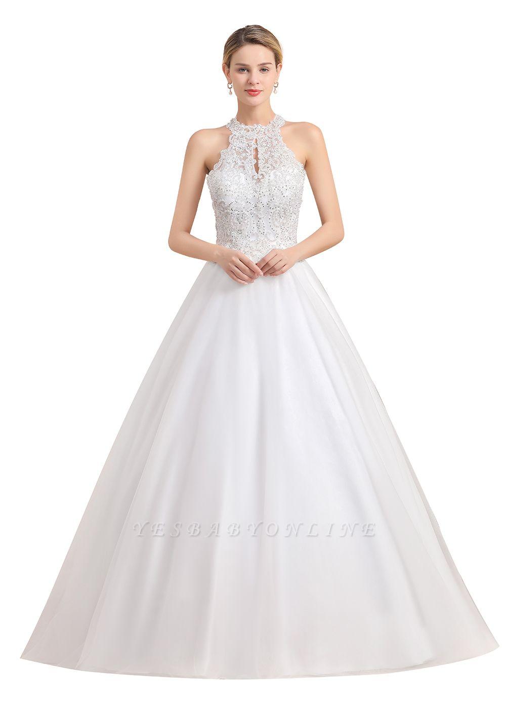 A Line Lace Chiffon Halter White Wedding Dresses Sleeveless