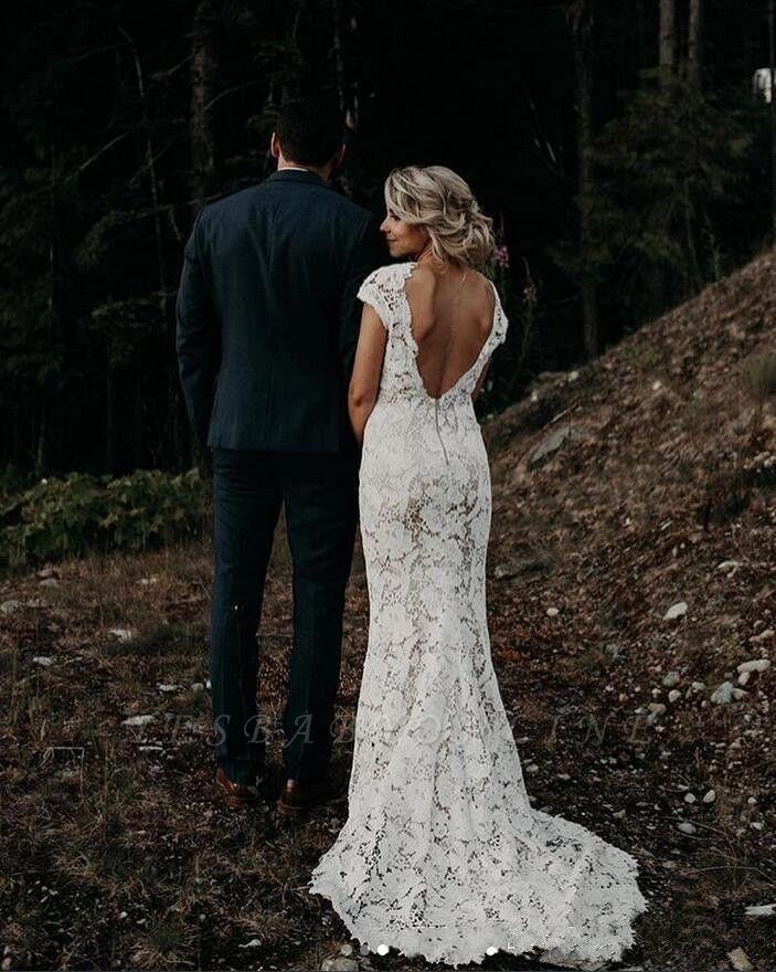 Elegant Cap Sleeve Lace Mermaid Wedding Dresses | Backless wedding Gown