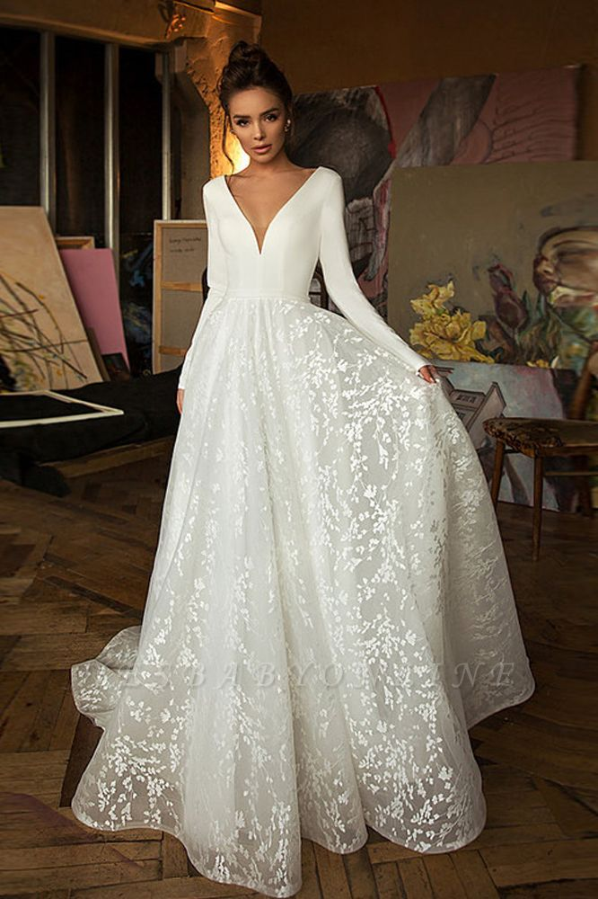 A-line V-neck Satin Backless Lace Long Sleeve Wedding Dress