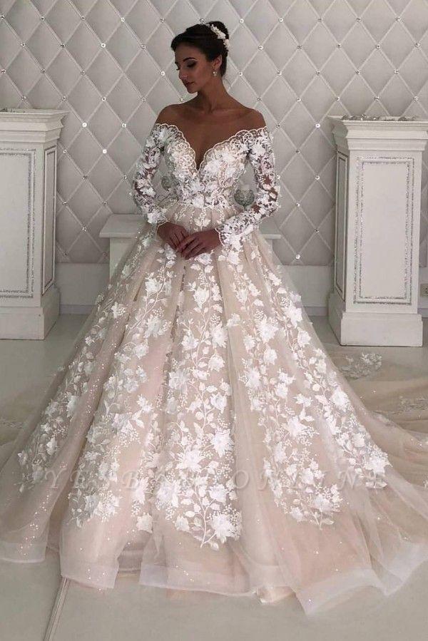 Elegant Off The Shoulder Champagne Tulle Lace A-Line Wedding Dresses