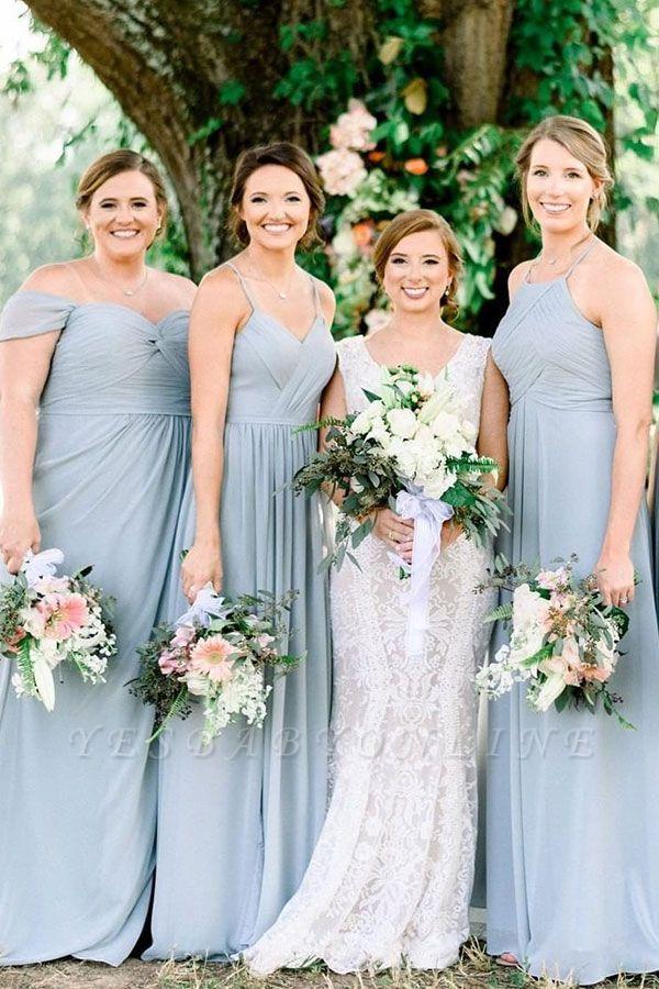 Blue Chiffon Convertible Sheath Bridesmaid Dresses | Floor Length Party Dresses
