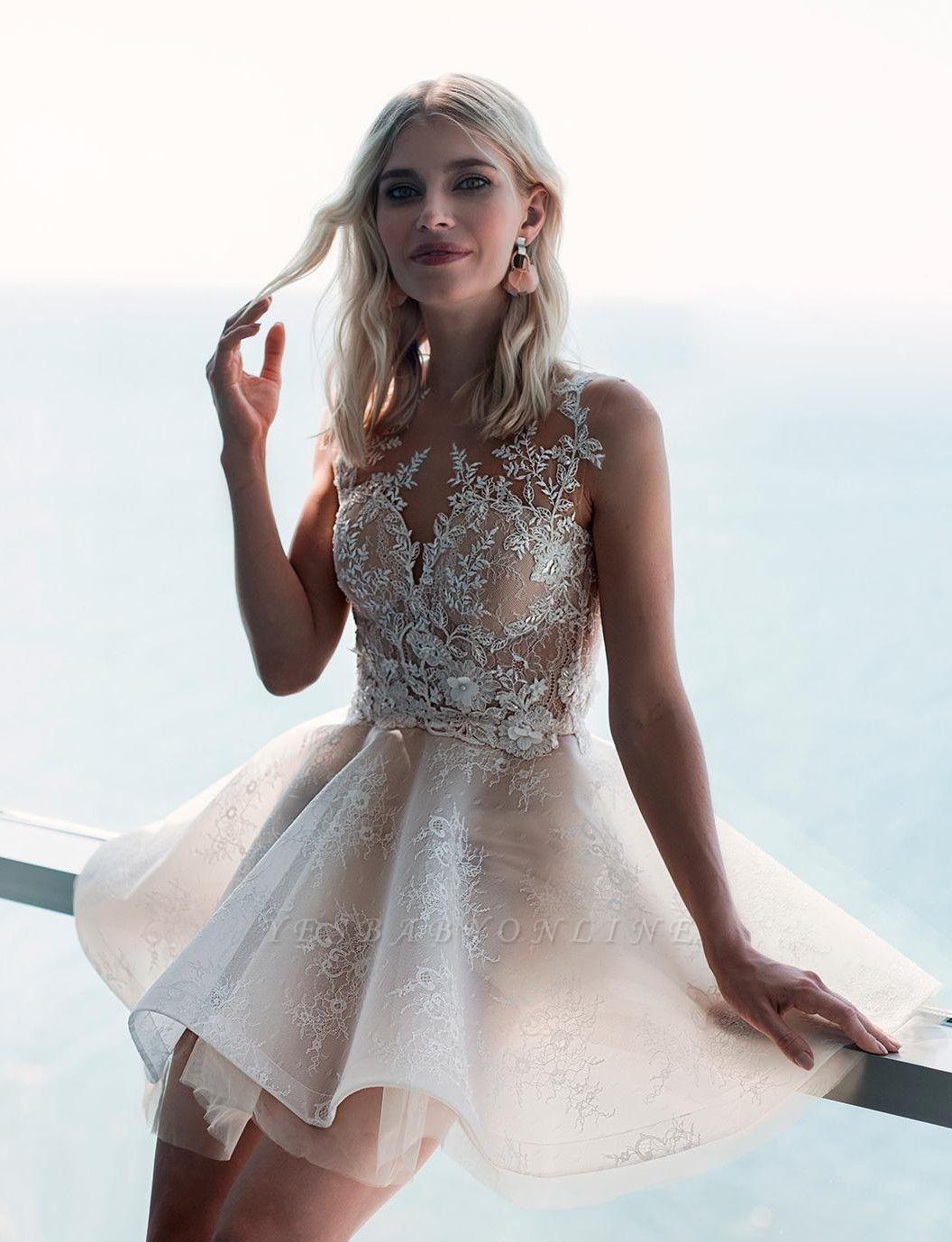 Jewel Applique Short Tiered A Line Wedding Dresses