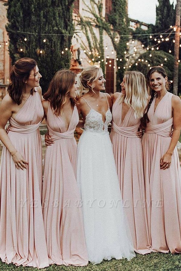 Elegant A-Line Chiffon Ruched V-Neck Long Bridesmaid Dress | Wedding Party Dress BM0232