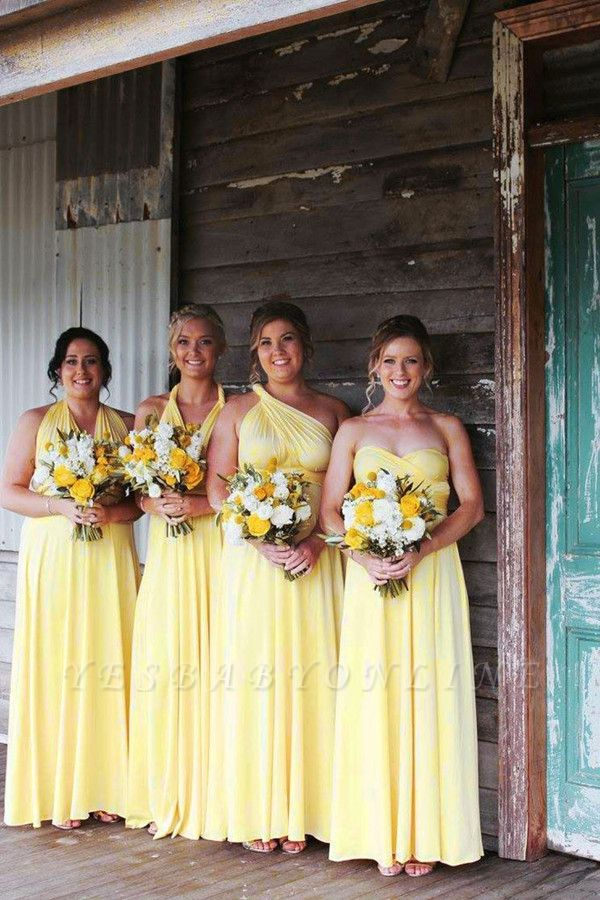 Yellow Chiffon A Line Bridesmaid Dreses | Convertible Wedding Party Dress