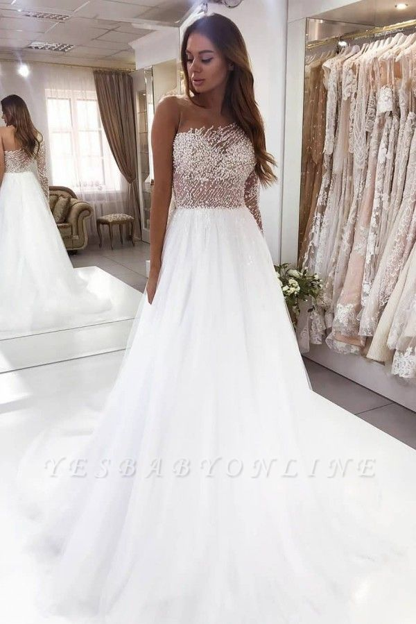 One Shoulder Crystal Tulle A Line Wedding Dress | Backless Bridal Gown