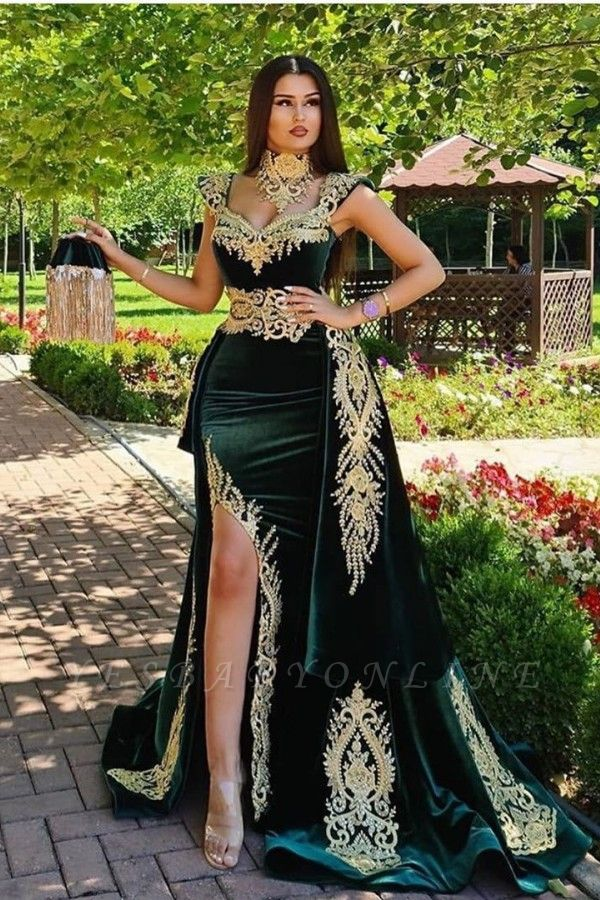 Long Dark Green Mermaid Formal Evening Dresses with Gold Lace appliques