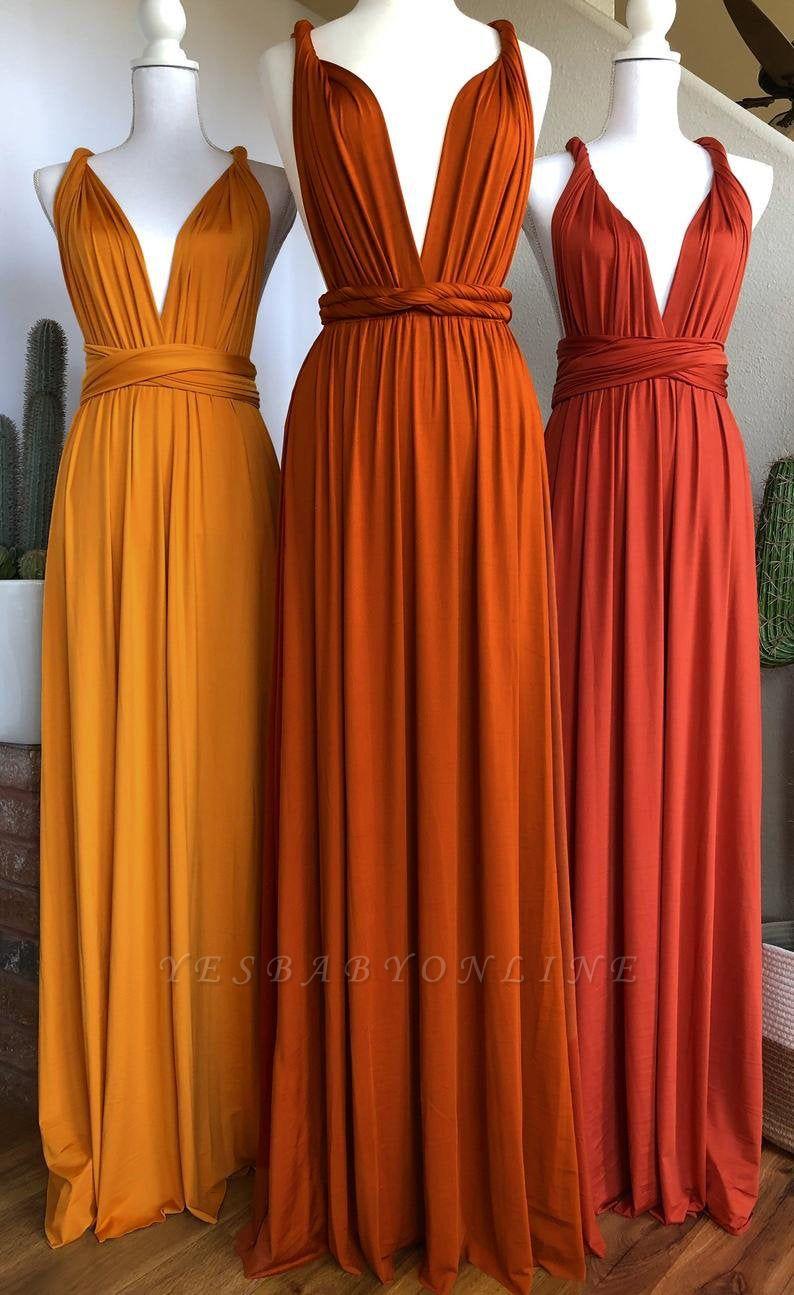Orange Convertible Pleated Floor Length Sheath Bridesmaid Dresses