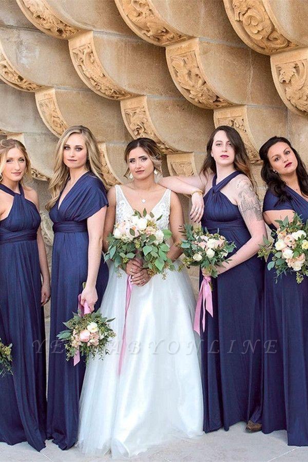 Dark Navy Chiffon Bridesmaid Dresses | Floor Length Sheath Party Dress For Wedding