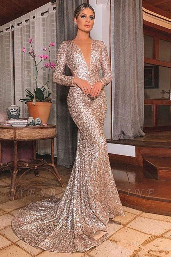 Sparkly Long Sleeve Sequin Mermaid Prom Dresses | V Neck Backless Fitted Evening Gown