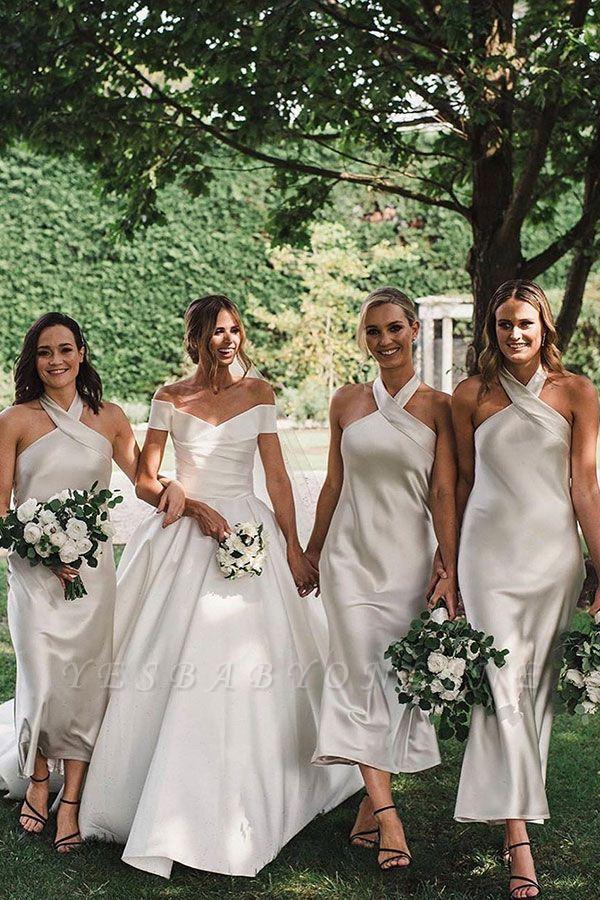 Halter Tea Length Sheath Bridesmaid Dresses | Party Dresses For Wedding