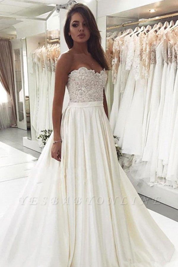 Sweetheart Applique Beaded A Line Wedding Dresses | Backless Bridal Gown