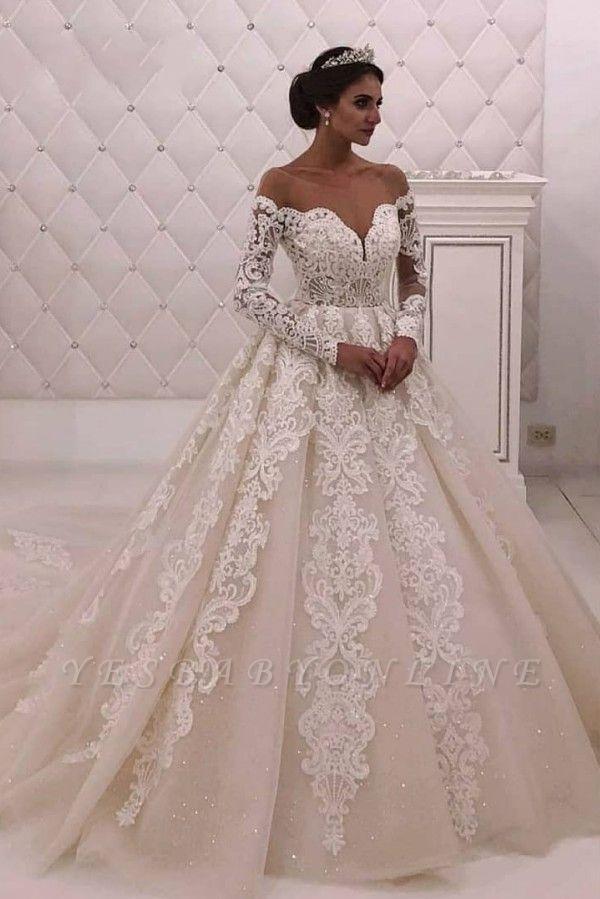 Off The Shoulder Long Sleeve A Line Wedding Dresses |Appique Bridal Gown