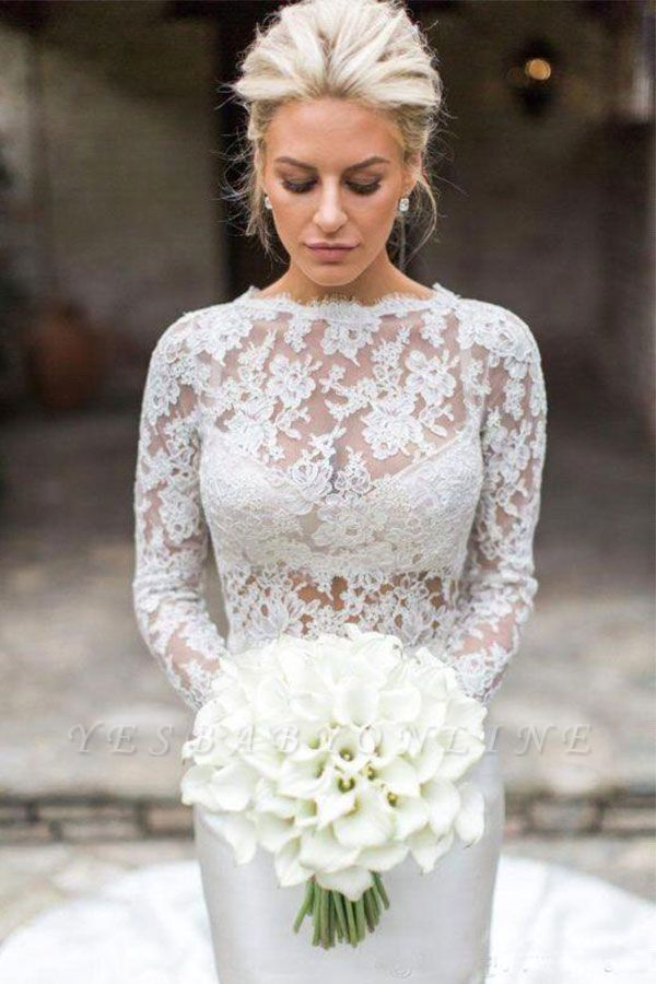 Jewel Long Sleeve Lace Mermaid Wedding Dresses | Fit And Flare Wedding Gown